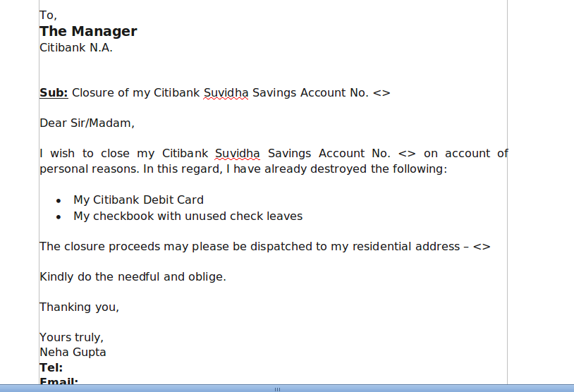 request letter for closing current account citibank account closure without visiting branch 28